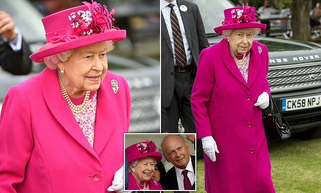 Queen looks radiant in pink as she arrives at Royal Windsor Cup Final