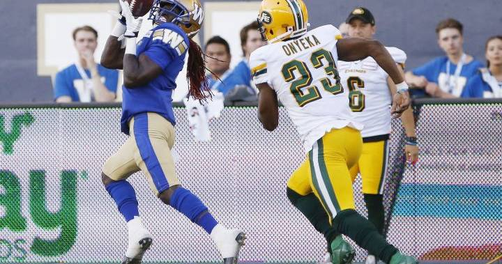 Bombers' Whitehead catches 2 TDs as Winnipeg hands Edmonton Eskimos their 1st loss of season