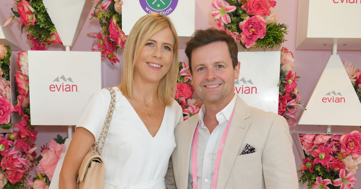 Declan Donnelly and wife Ali Astall beam during stylish display at star-studded Wimbledon