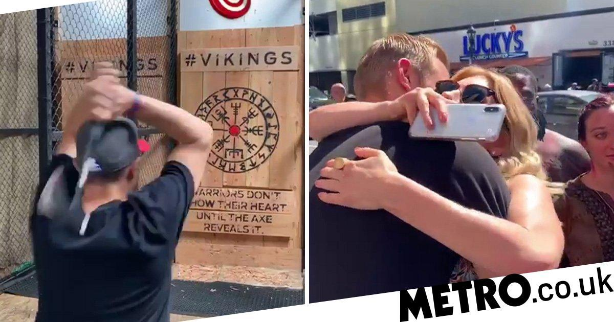 Vikings' Alexander Ludwig and Katheryn Winnick go axe throwing in epic reunion