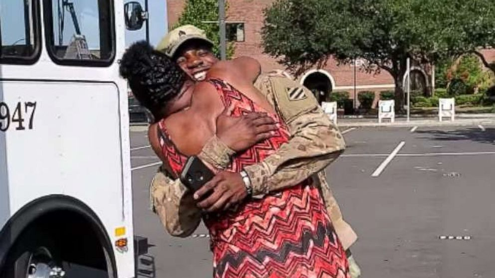 Soldier home from deployment surprises mom on trolley bus she drives