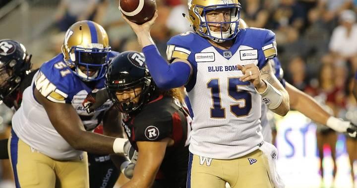 Winnipeg Blue Bombers beat Redblacks but lose starting QB Matt Nichols