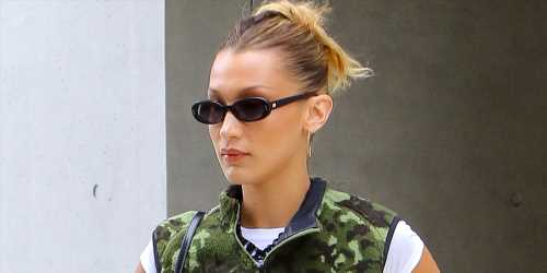 Bella Hadid Steps Out For Errands In Cute Camo Vest in NYC