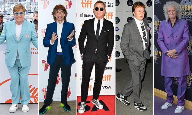 Curse of the ageing star: Trying to match a suit with trainers.