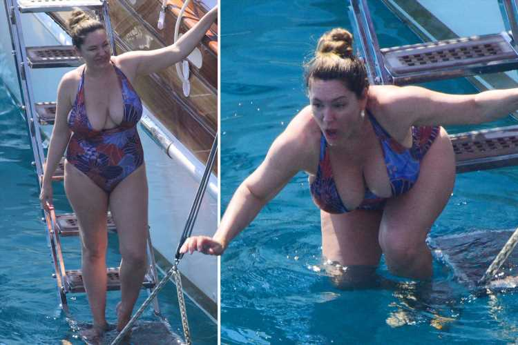Kelly Brook shows off her curves as she plunges into the sea from luxury yacht on holiday with boyfriend Jeremy Parisi – The Sun