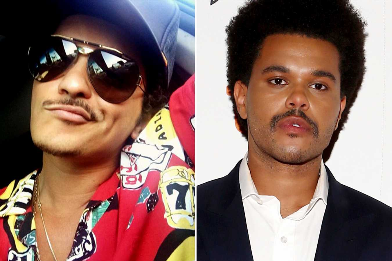 Even Bruno Mars Seems to Think The Weeknd's New 'Stache Looks Just Like His