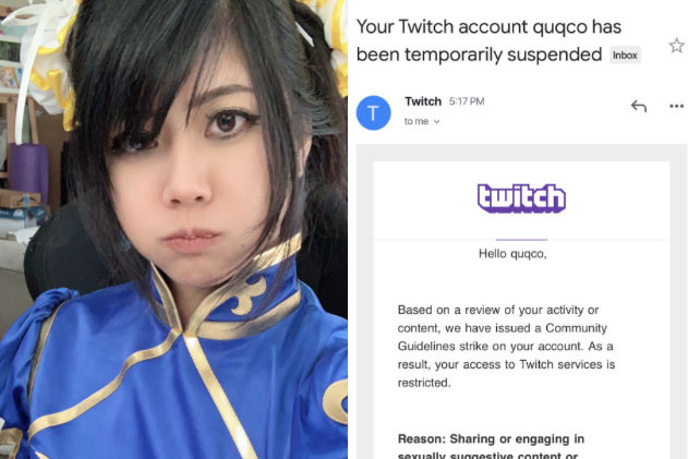 Twitch boots streamer over 'sexually suggestive' Street Fighter cosplay