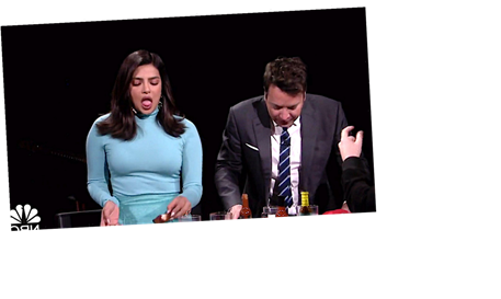 Priyanka Chopra Turns Into Squirming Mess Eating Spicy Wings On 'Tonight Show'