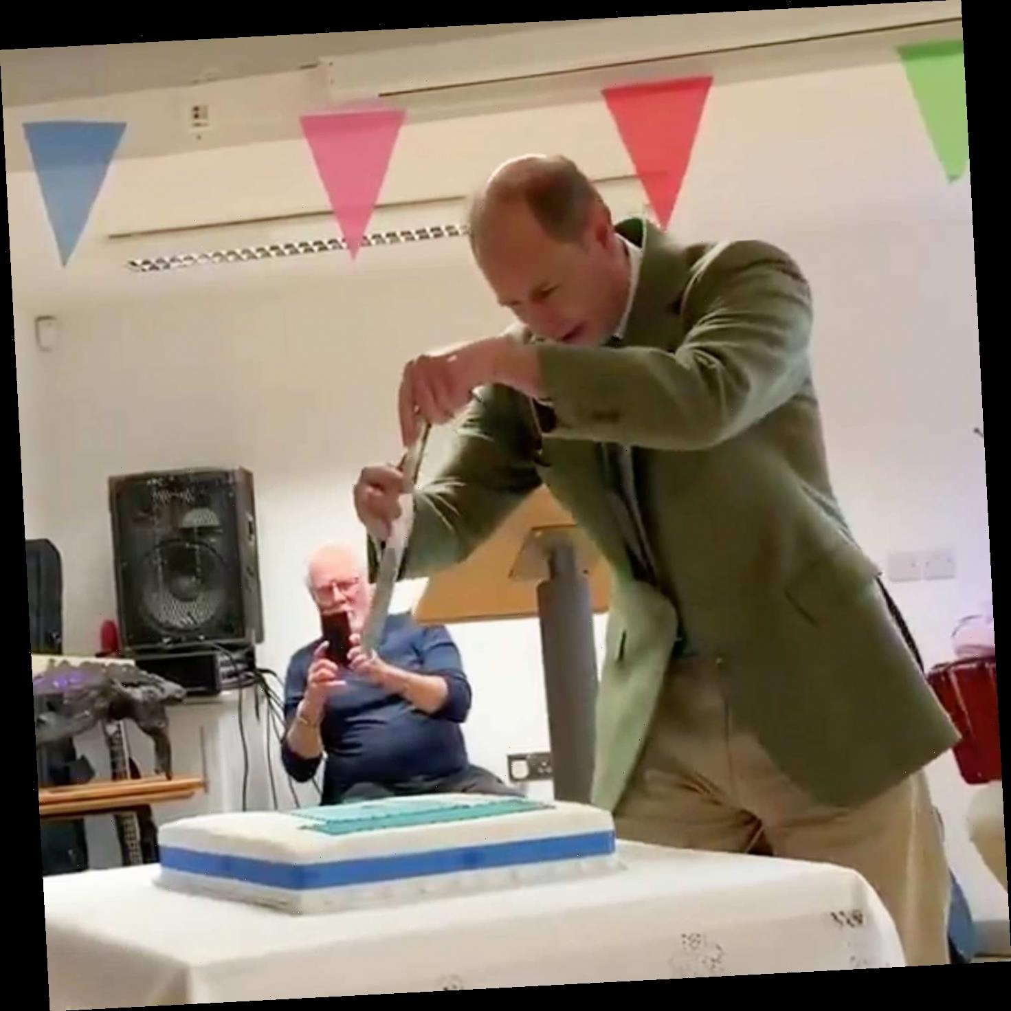 Prince Edward Has A Weird Way Of Cutting Cake, And It's Very … Stabby