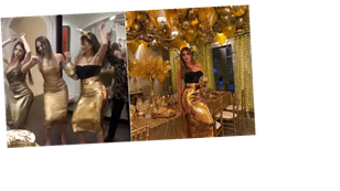 Sofía Vergara and Her Gold Sequinned Mini Me's Are Having an Absolute Ball at Thanksgiving