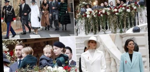 Charlene of Monaco joins the royal family at the Monte Carlo Cathedral