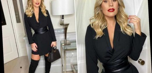 Kate Ferdinand shows off her very tiny waist in plunging jumpsuit on girls' night out