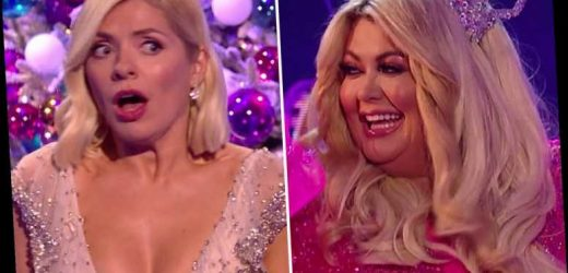 Gemma Collins makes Holly Willoughby jump as she bursts out of present on Dancing On Ice Christmas Special – The Sun