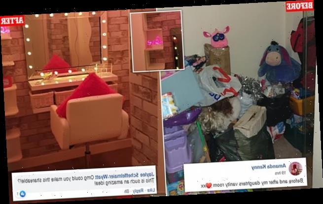 Thrifty mum transforms walk-in cupboard into a 'gorgeous' vanity room