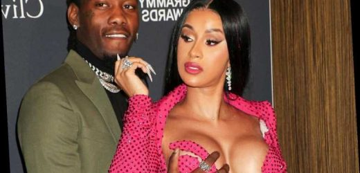 Cardi B wears a VERY revealing low-cut dress to pre-Grammy gala… and her husband Offset can't keep his hands off her – The Sun