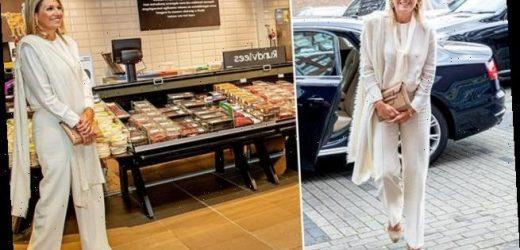 Queen Maxima meets Dutch keyworkers in a supermarket