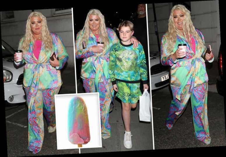 Gemma Collins looks striking in a 'Zap ice lolly' suit for dinner at the Dorchester