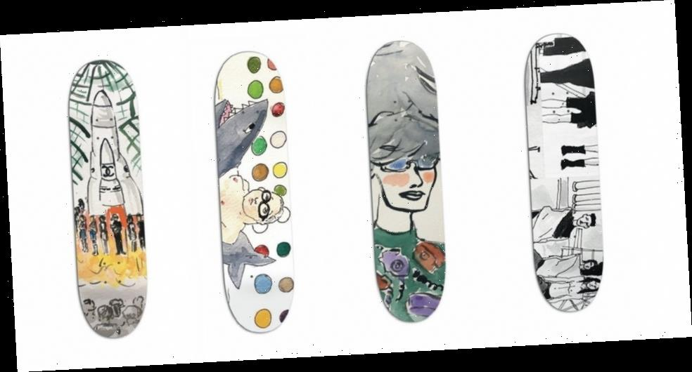 An OutKast's Hand-Painted Skate Decks Riff on Popular Art and Slogans