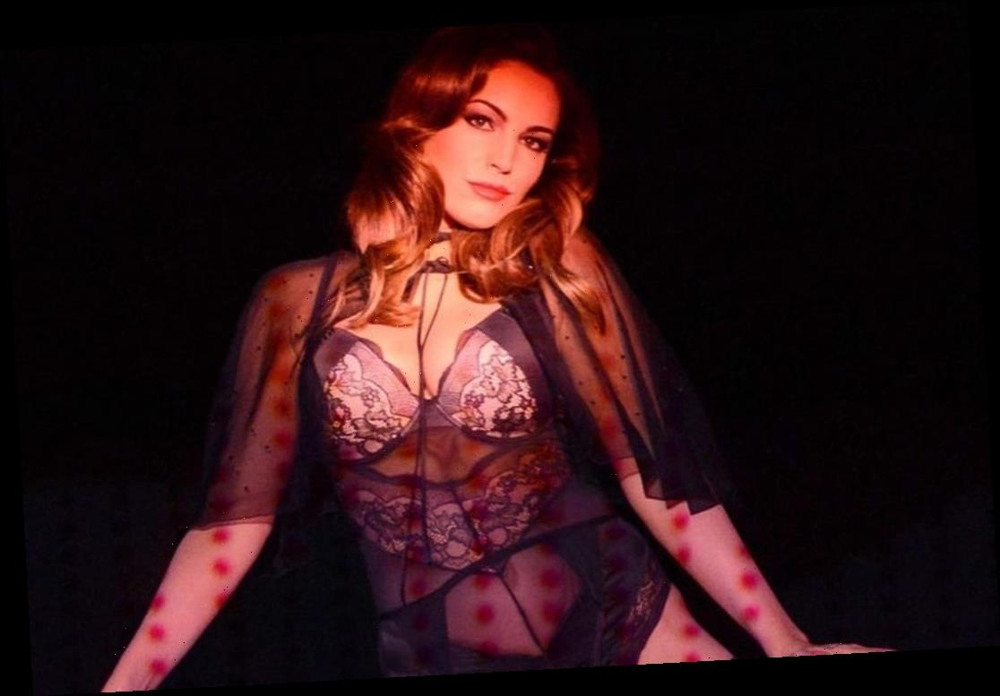 Kelly Brook shows off her curves in lingerie and suspenders in burlesque throwback