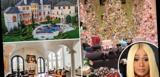 Cardi B shows off lavish Christmas decorations inside her $5.8M Atlanta mansion including five massive trees