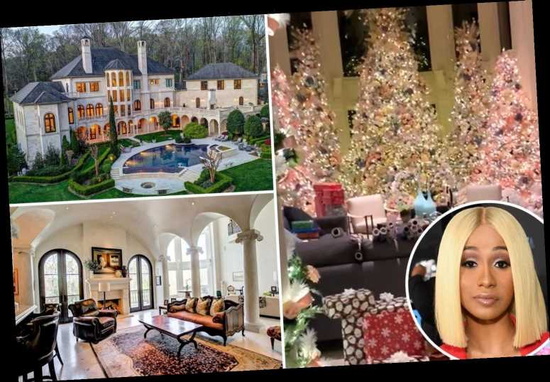 Cardi B shows off lavish Christmas decorations inside her $5.8M Atlanta mansion including five massive trees