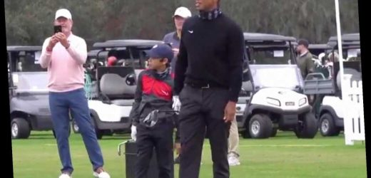 Tiger Woods and Son Charlie, 11, Are Totally in Sync as They Warm Up Together at PNC Championship