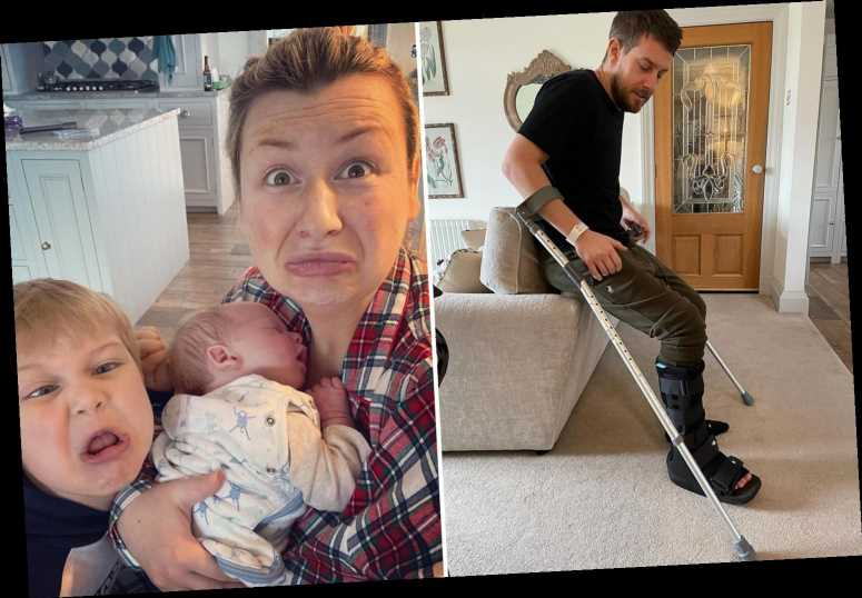 Chris Ramsey seethes 'f**k this decade' as he breaks ankle just days after wife Rosie gave birth to second child