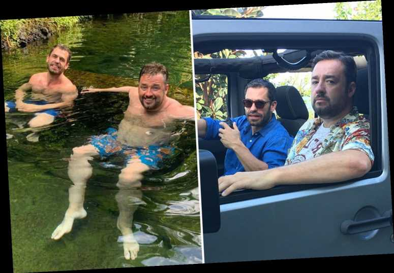 Death in Paradise's Jason Manford strips topless for behind-the-scenes pics with 'lookalike' co-star Kelvin Fletcher