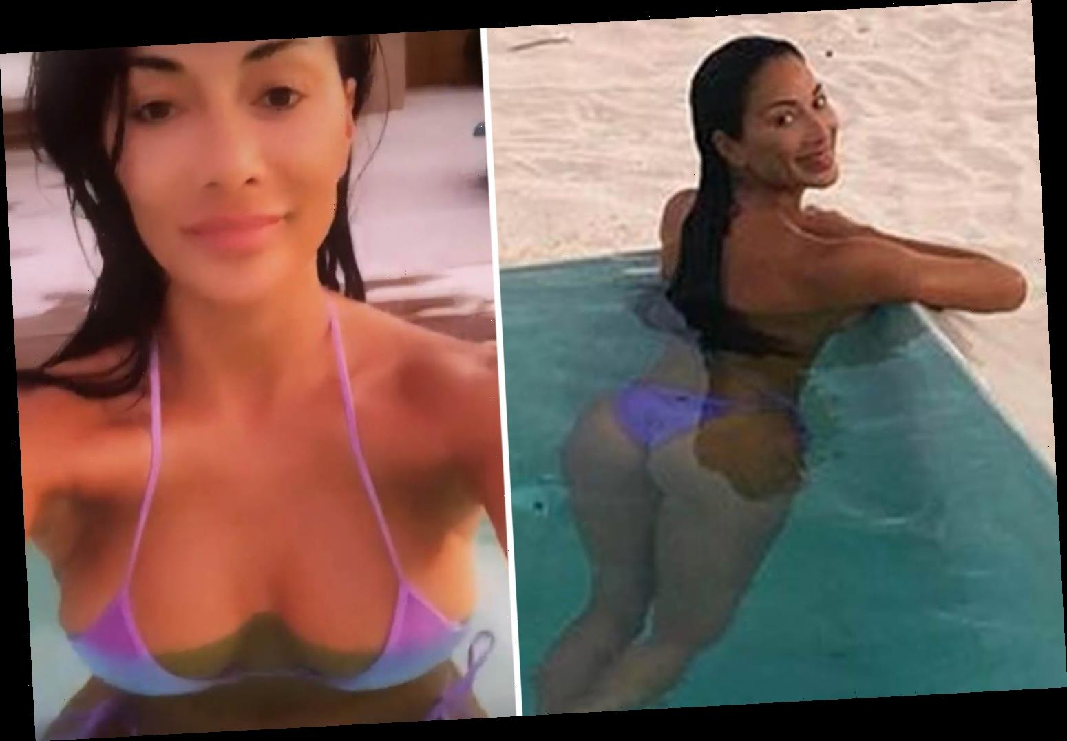 Nicole Scherzinger, 42, displays her hourglass curves in a barely there bikini while on Turks and Caicos getaway