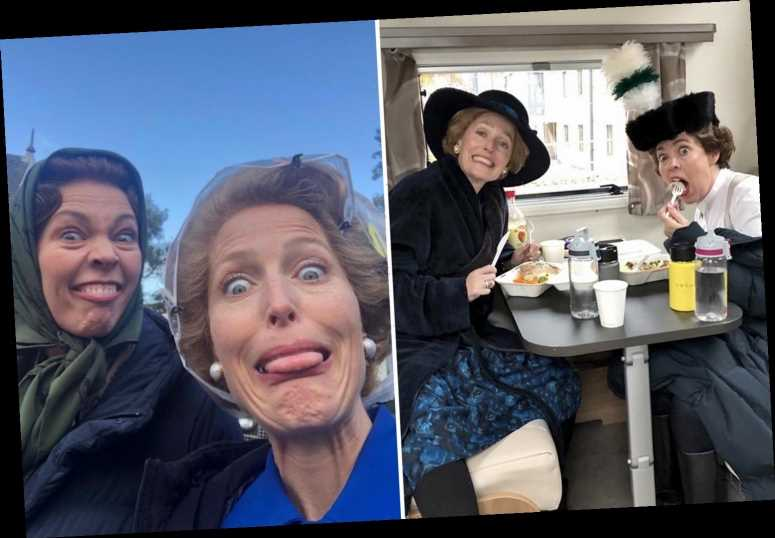 Gillian Anderson shares hilarious behind the scenes pics from The Crown as she wishes Olivia Colman a happy birthday