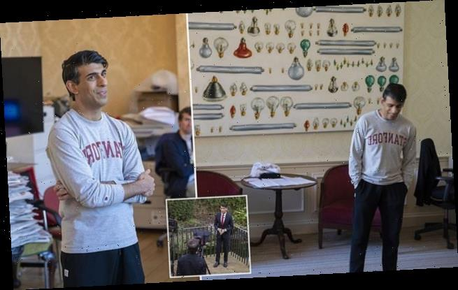 Rishi Sunak poses in Stanford jumper in pre-budget photoshoot