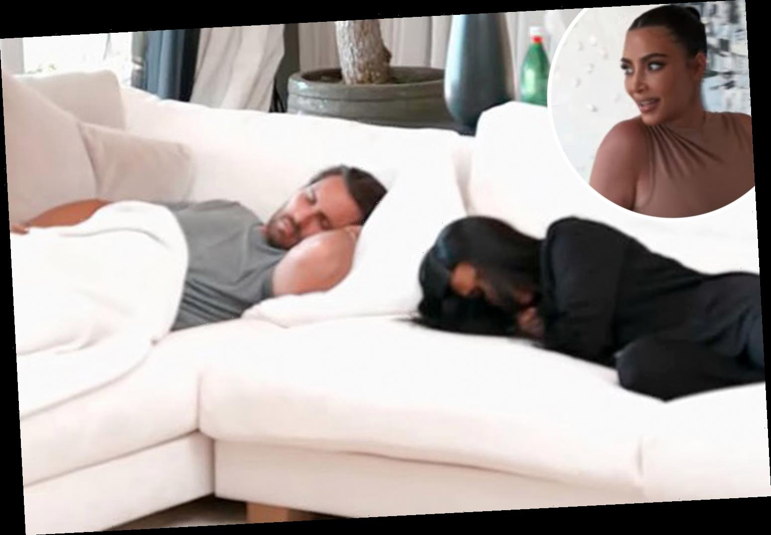 Kourtney Kardashian & Scott Disick caught sleeping together on couch as sisters think they're hooking up in KUWTK clip