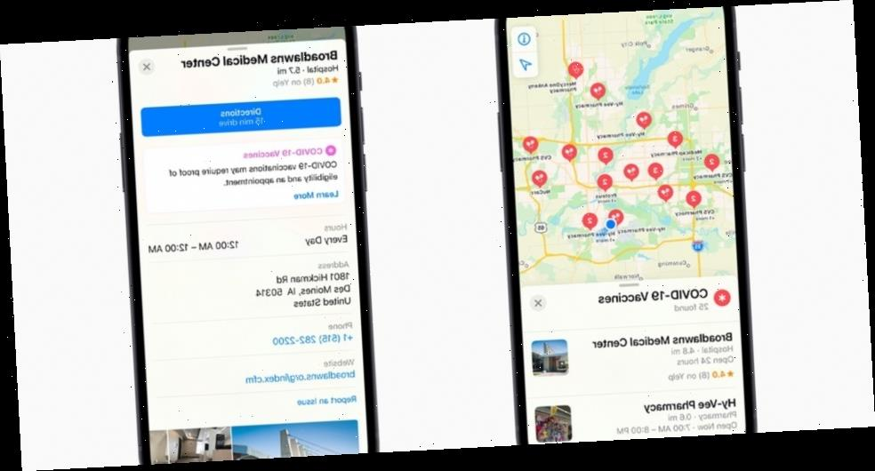 Apple Maps Can Now Help People Find COVID-19 Vaccination Sites