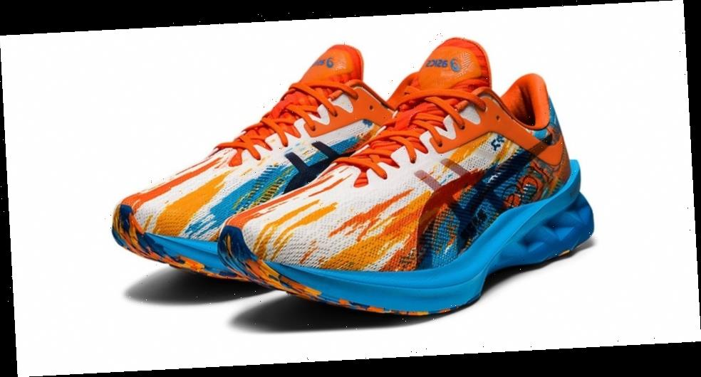 "ASICS Dresses Its Novablast in Splashes of ""Digital Aqua"" and ""Marigold Orange"""