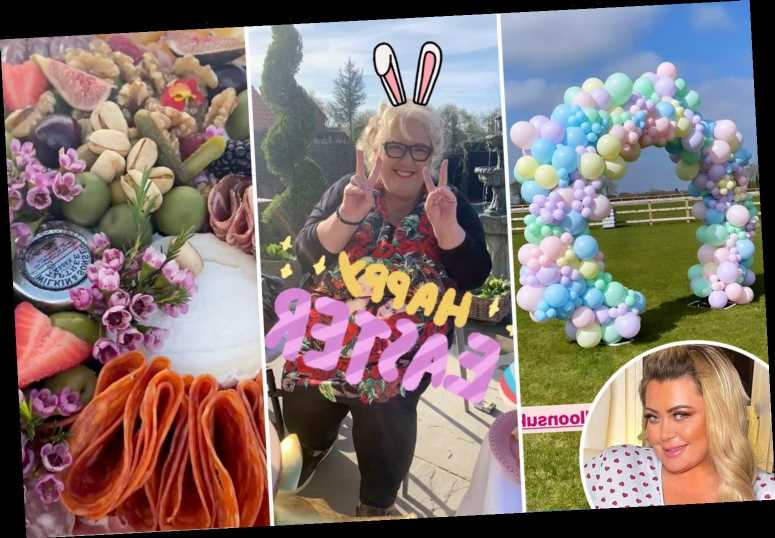 Inside Gemma Collins' lavish Easter weekend celebrations with delicious food, glittery horse and amazing balloon display
