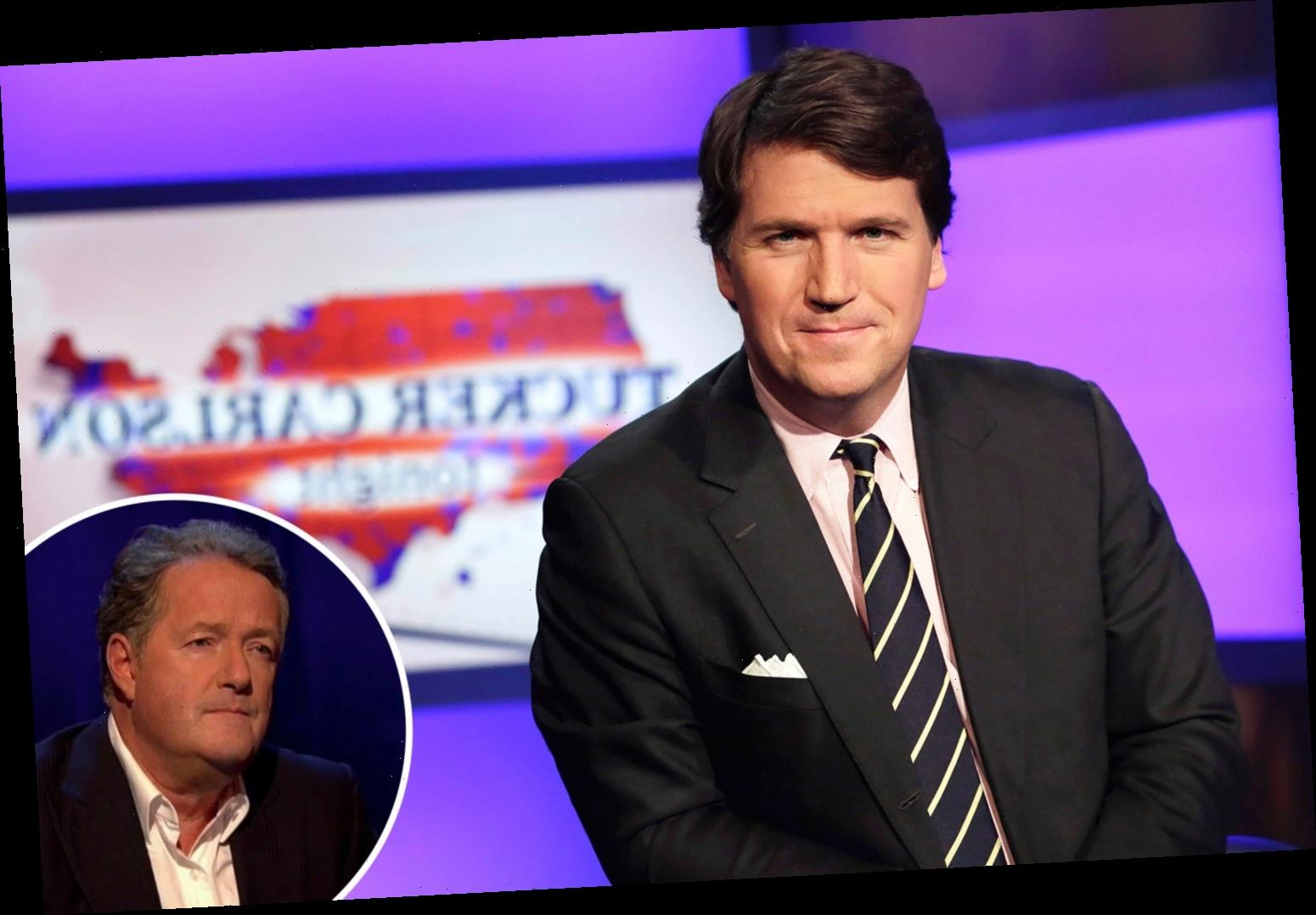 What time is Piers Morgan's interview with Tucker Carlson tonight?
