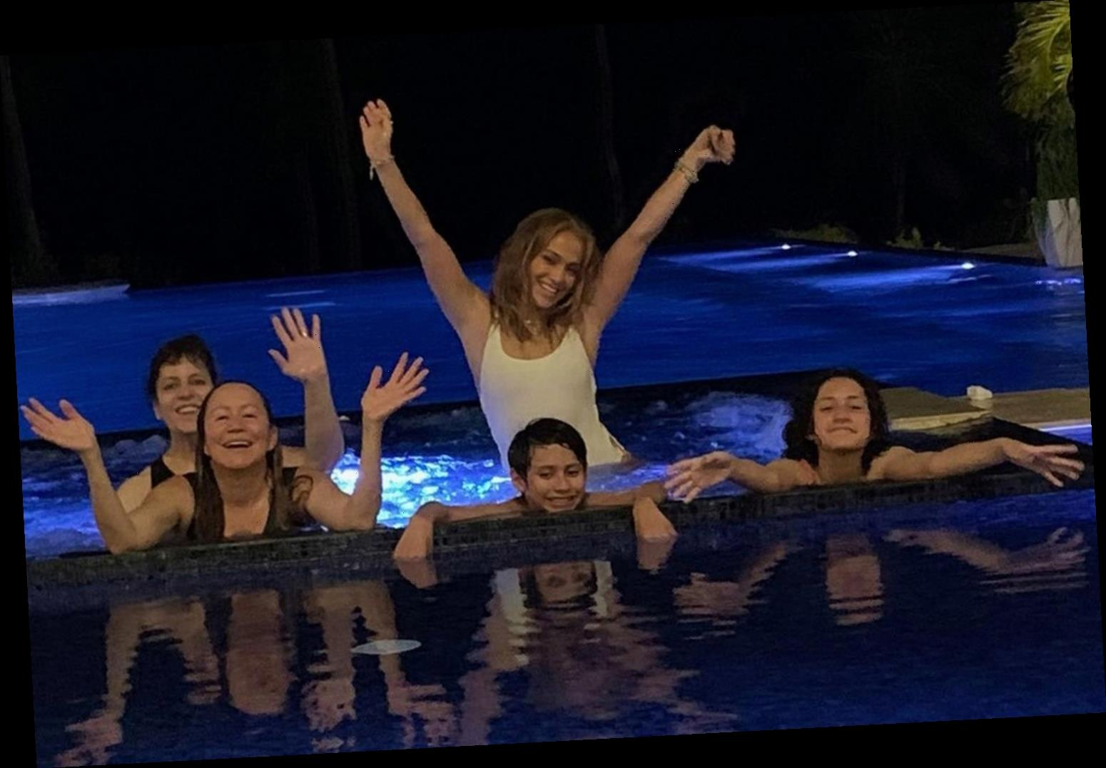 JLo, 51, and twins Max and Emme, 13, hit the pool without fiance ARod after rumors he had 'affair' with Madison LeCroy