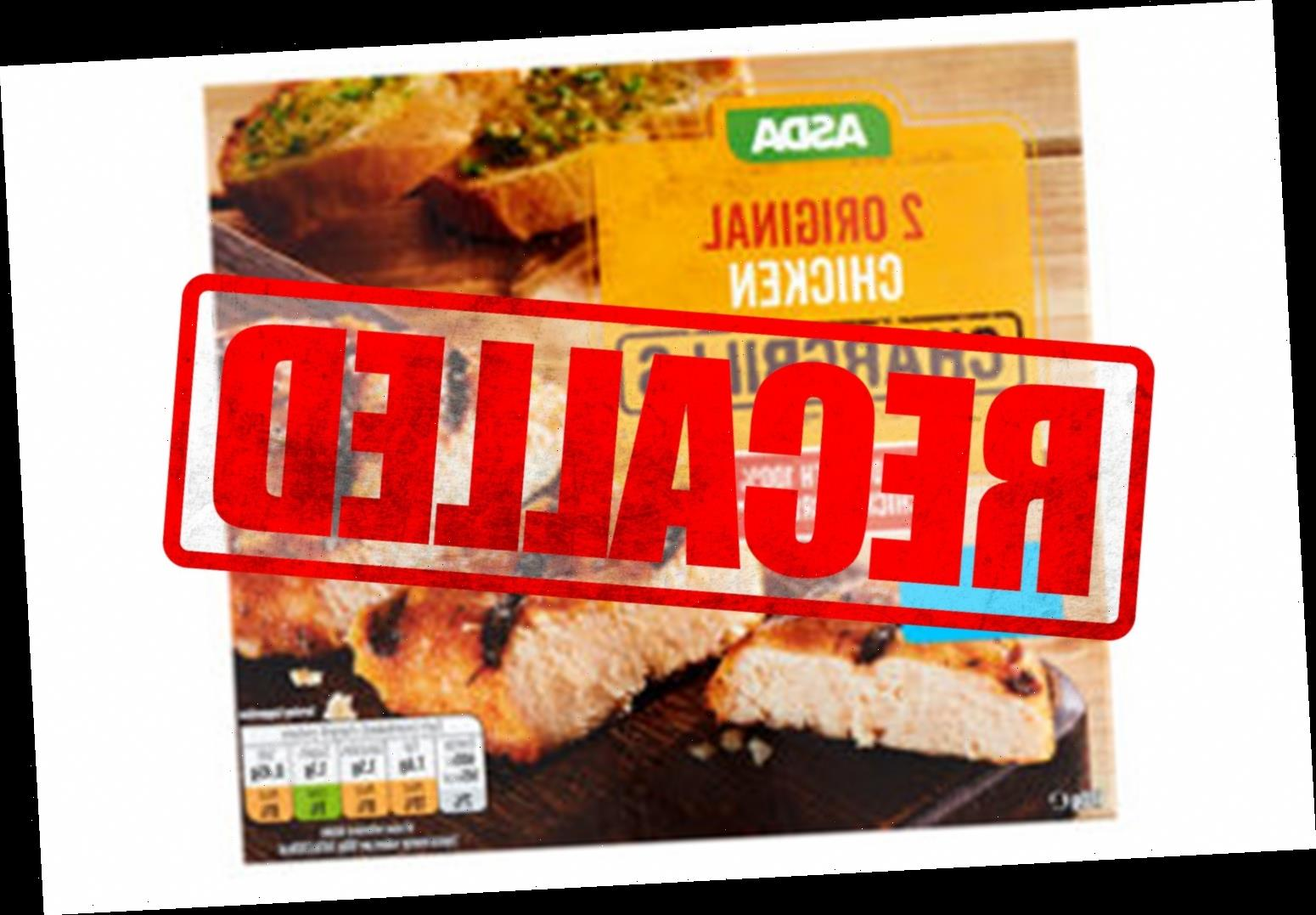 Asda recalls chicken products due to the presence of salmonella
