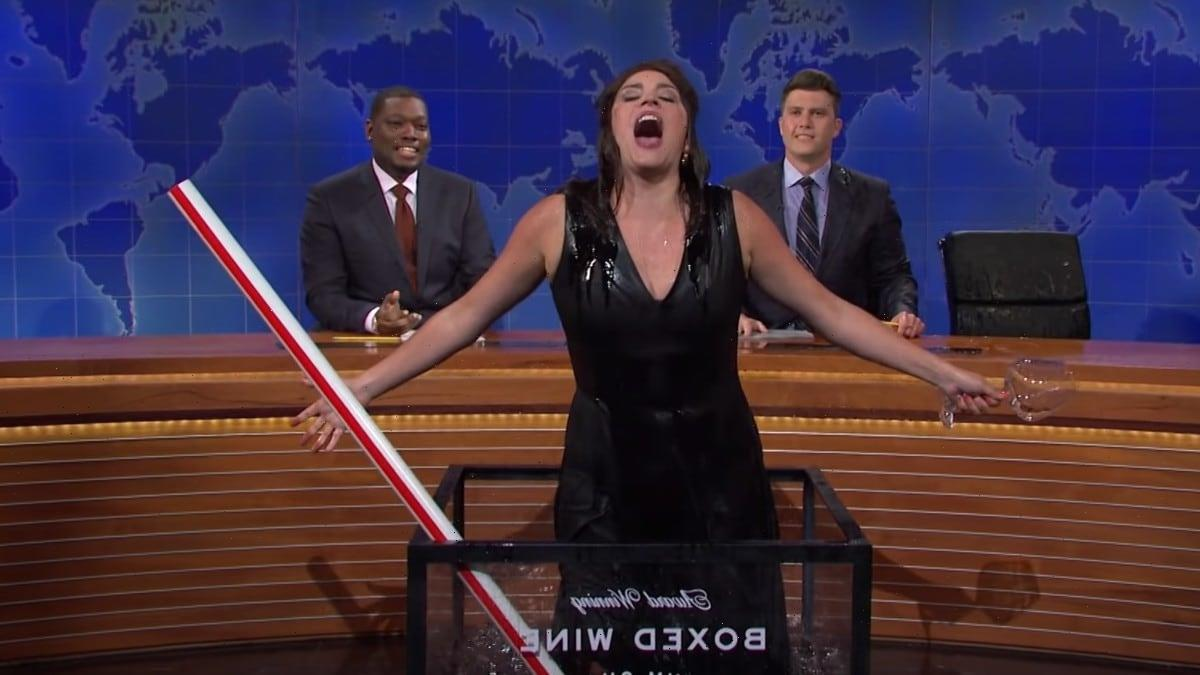 'SNL': Cecily Strong's Jeanine Pirro Goes Out Her Way, Drenching Colin Jost in Wine (Video)