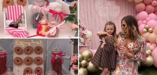 Inside Towie's Amy Childs daughter's Polly 4th birthday party with £550 mini designer dress, prosecco wall & Barbie cake