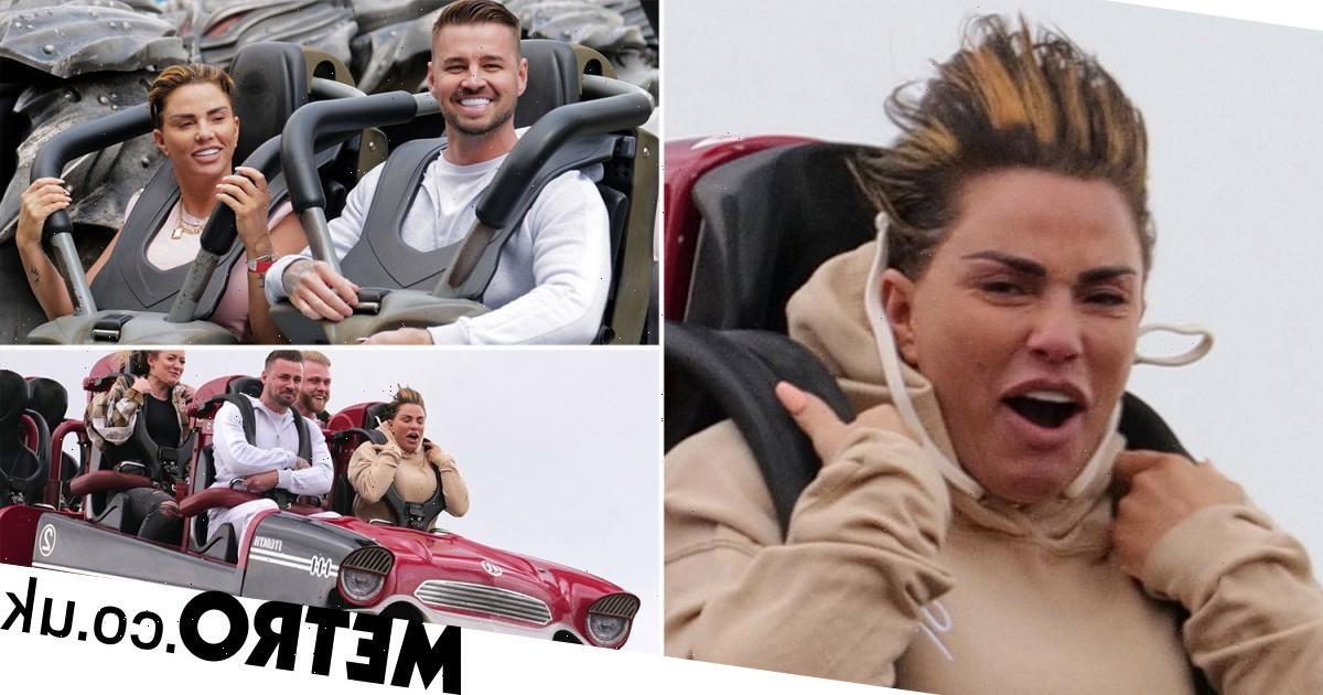 Katie Price and Carl Woods enjoy thrills and spills at Thorpe Park