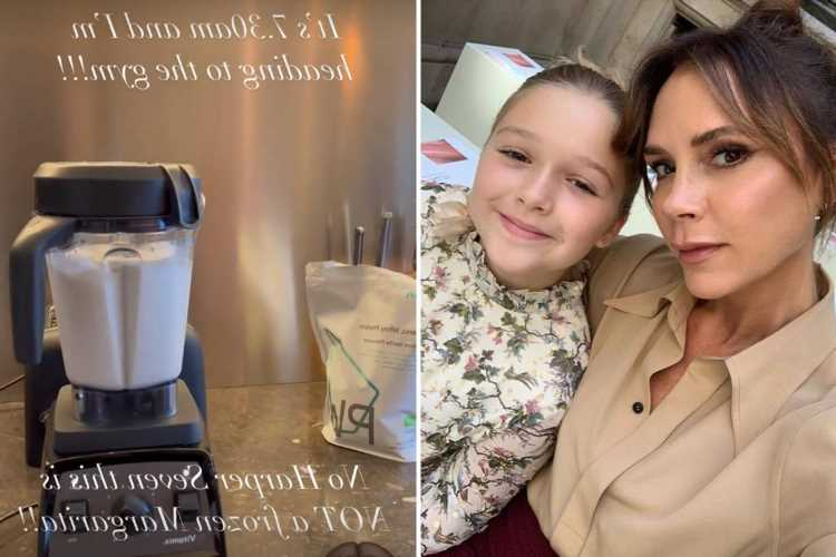 Mortified Victoria Beckham can't stop laughing as daughter Harper, 9, asks if she's making frozen margaritas at 7.30AM