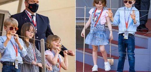 Prince Jacques and Princess Isabella of Monaco seen at Monaco E-prix