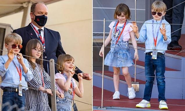 Prince Jacques and Princess Isabella of Monaco seen at Monaco E-prix