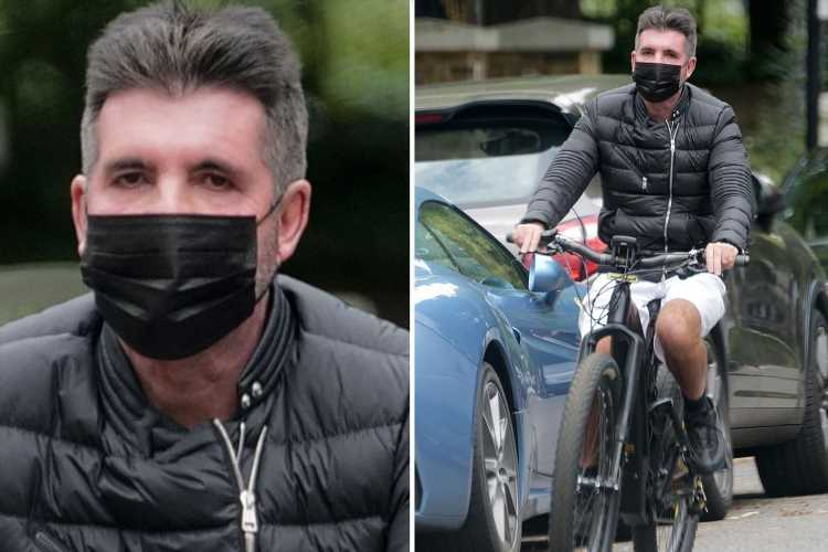 Simon Cowell gets back on his electric bike without a helmet after breaking his back in horror accident