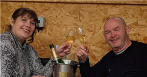 Tom and Julie Malone toast the start of the weekend with a glass of bubbly ahead of tonight's Gogglebox