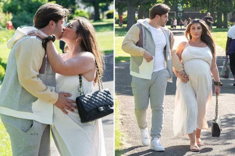 Heavily pregnant Lauren Goodger looks loved-up with boyfriend Charles as they count down to birth of first baby