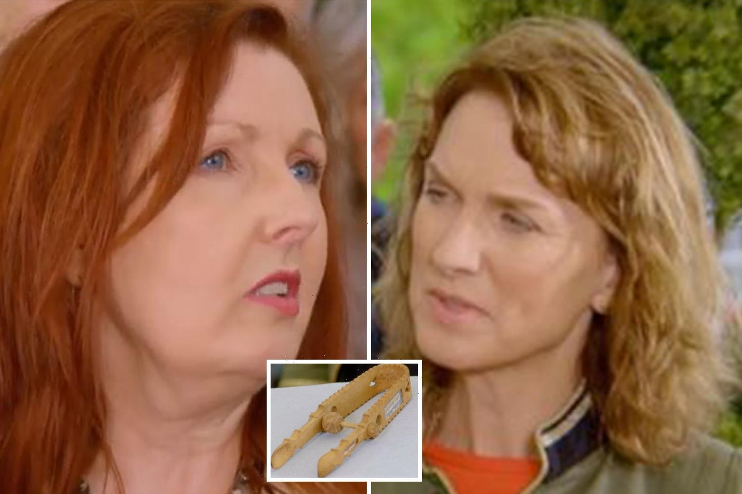 Antiques Roadshow's Fiona Bruce red-faced as co-star shows off her 'sugar nips' in cheeky game