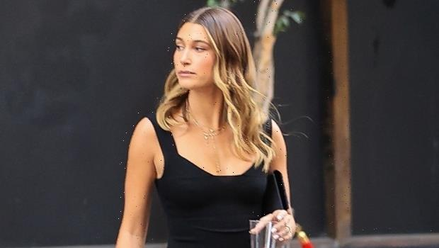 Hailey Baldwin Tries On Open Black Top & Black Mini Dress For An Evening Out  See Photos