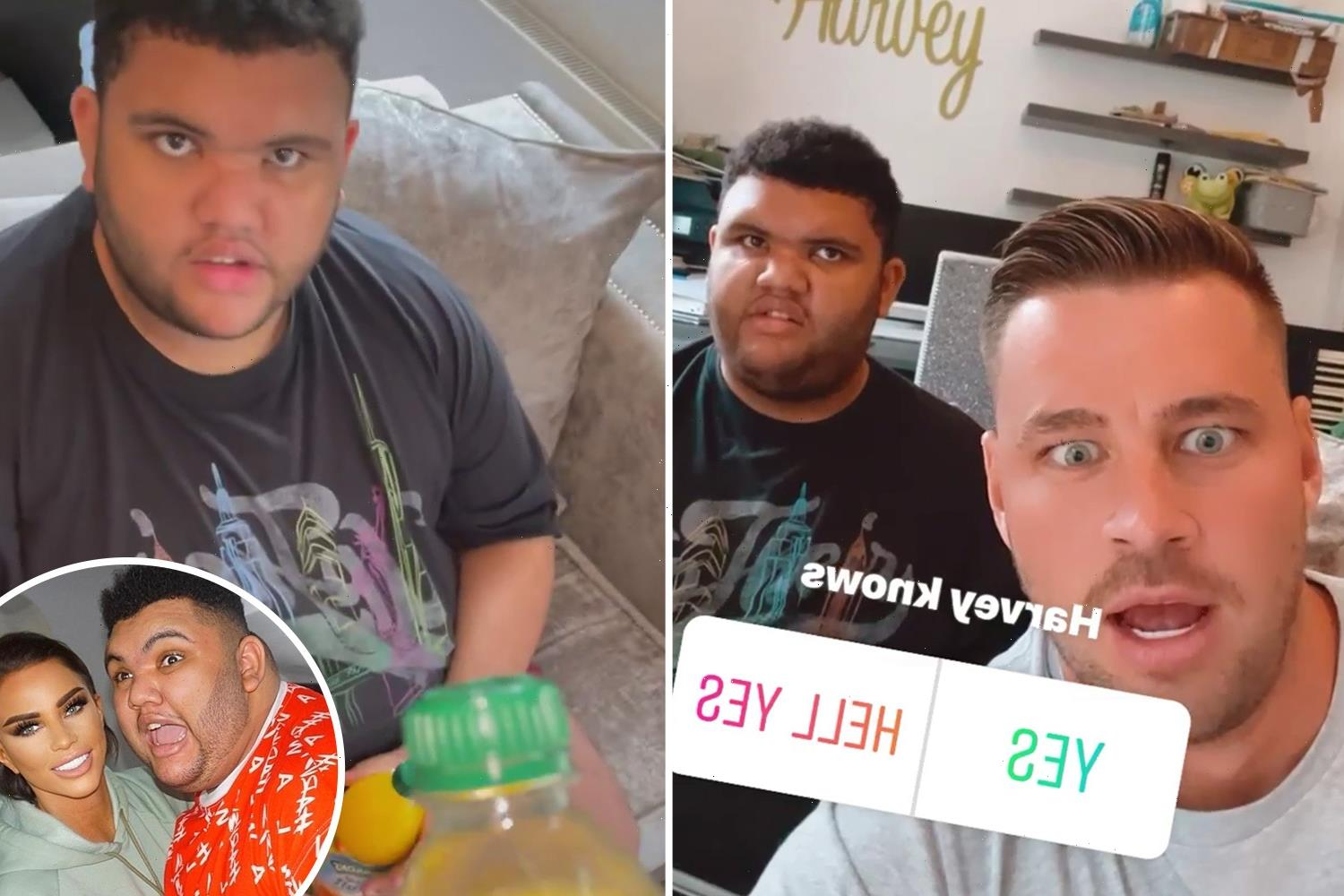 Katie Price's son Harvey brands her fiance Carl Woods an 'absolute d***head' in hilarious video